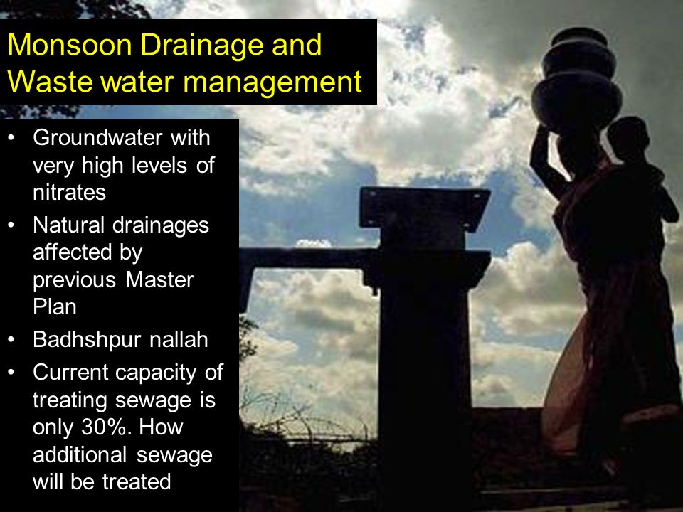 Monsoon Drainage and Waste water management Groundwater with very high levels of nitrates Natural drainages affected by previous Master Plan Badhshpur