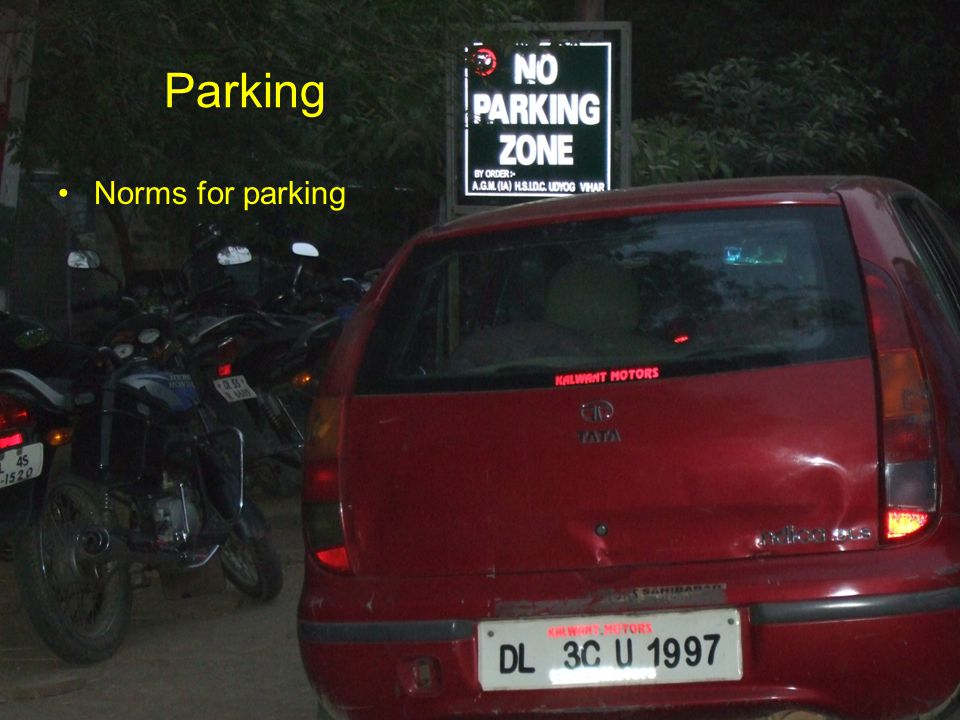 Parking Norms for parking