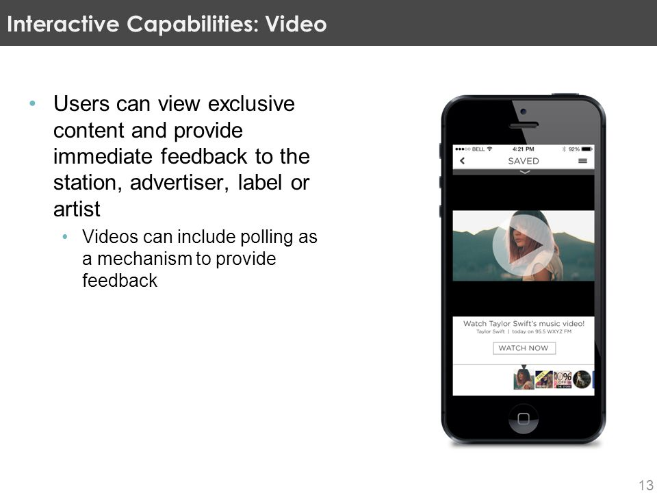 Users can view exclusive content and provide immediate feedback to the station, advertiser, label or artist Videos can include polling as a mechanism