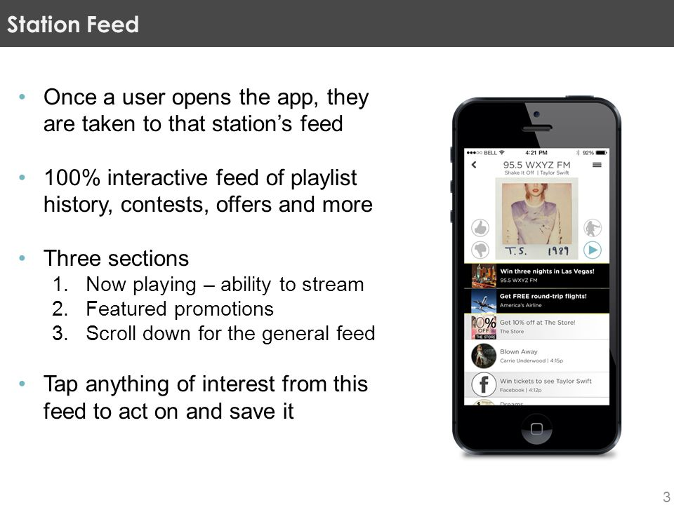 3 Once a user opens the app, they are taken to that station's feed 100% interactive feed of playlist history, contests, offers and more Three sections
