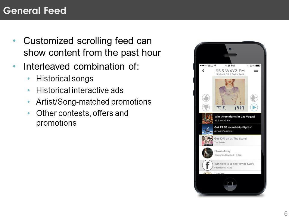 Customized scrolling feed can show content from the past hour Interleaved combination of: Historical songs Historical interactive ads Artist/Song-matched promotions Other contests, offers and promotions General Feed 6