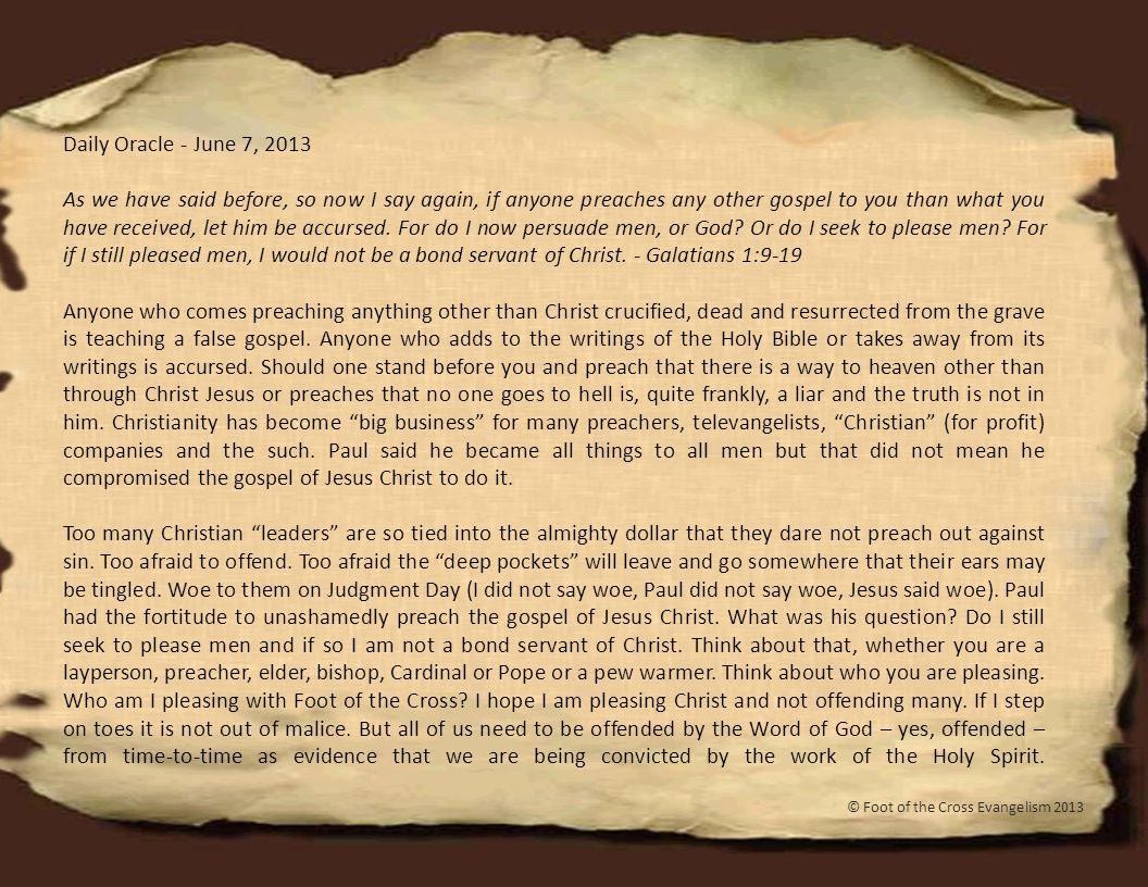 Daily Oracle - June 8, 2013 But avoid foolish disputes, genealogies, contentions, and strivings about the law; for they are unprofitable and useless.