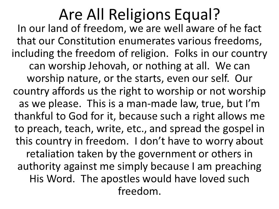 Are All Religions Equal.
