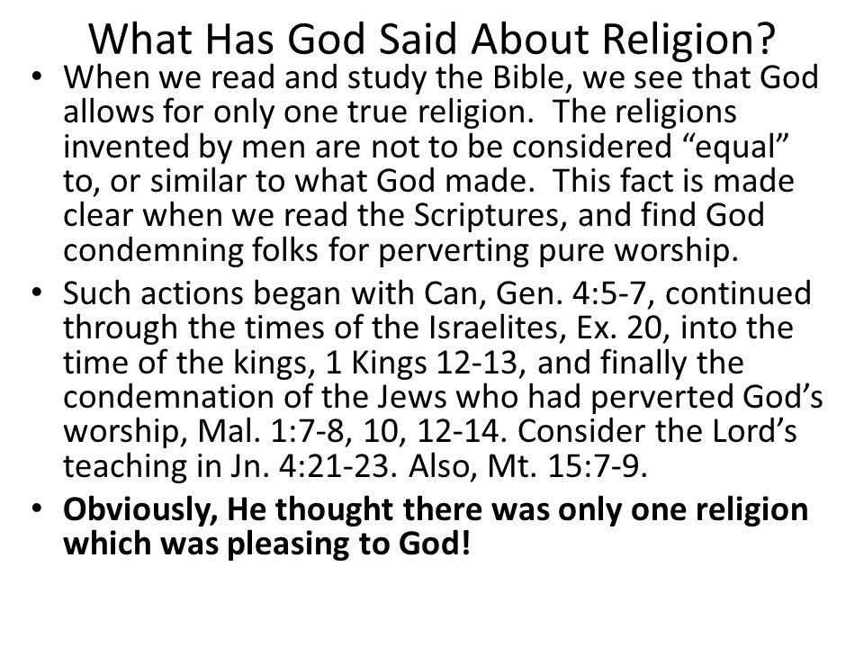 What Has God Said About Religion.