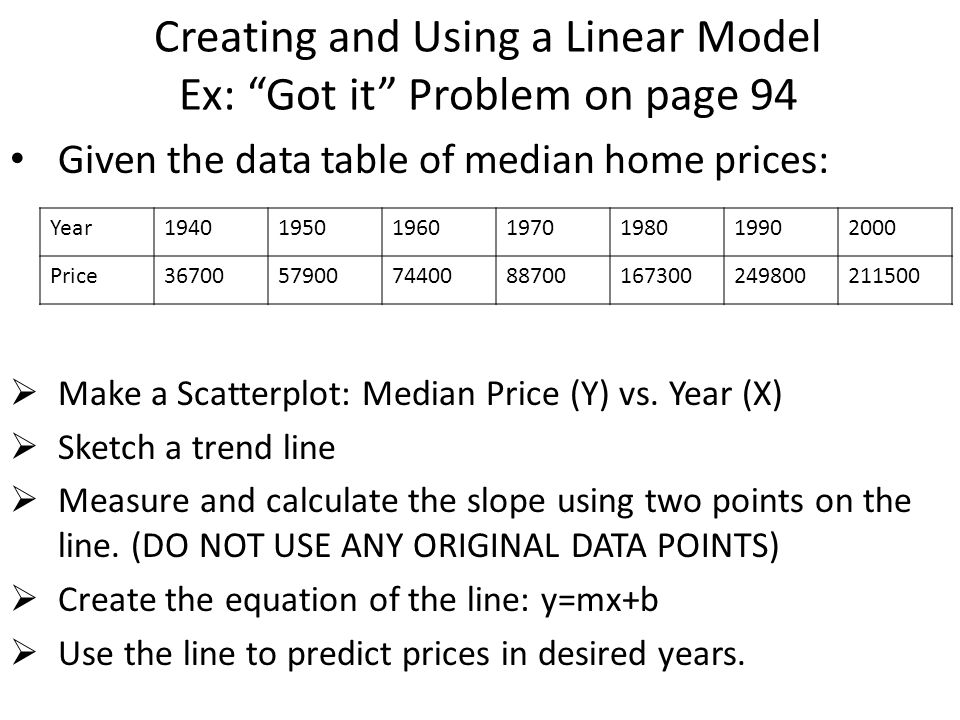 Creating and Using a Linear Model Ex: Got it Problem on page 94 Given the data table of median home prices:  Make a Scatterplot: Median Price (Y) vs.