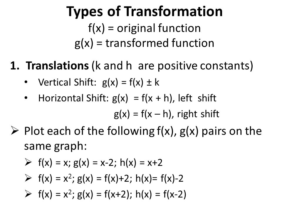 Types of Transformation f(x) = original function g(x) = transformed function 1.Translations (k and h are positive constants) Vertical Shift: g(x) = f(x) ± k Horizontal Shift: g(x) = f(x + h), left shift g(x) = f(x – h), right shift  Plot each of the following f(x), g(x) pairs on the same graph:  f(x) = x; g(x) = x-2; h(x) = x+2  f(x) = x 2 ; g(x) = f(x)+2; h(x)= f(x)-2  f(x) = x 2 ; g(x) = f(x+2); h(x) = f(x-2)
