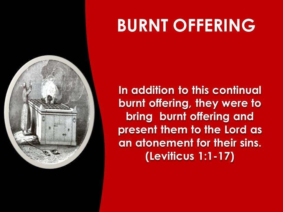 BURNT OFFERING In addition to this continual burnt offering, they were to bring burnt offering and present them to the Lord as an atonement for their