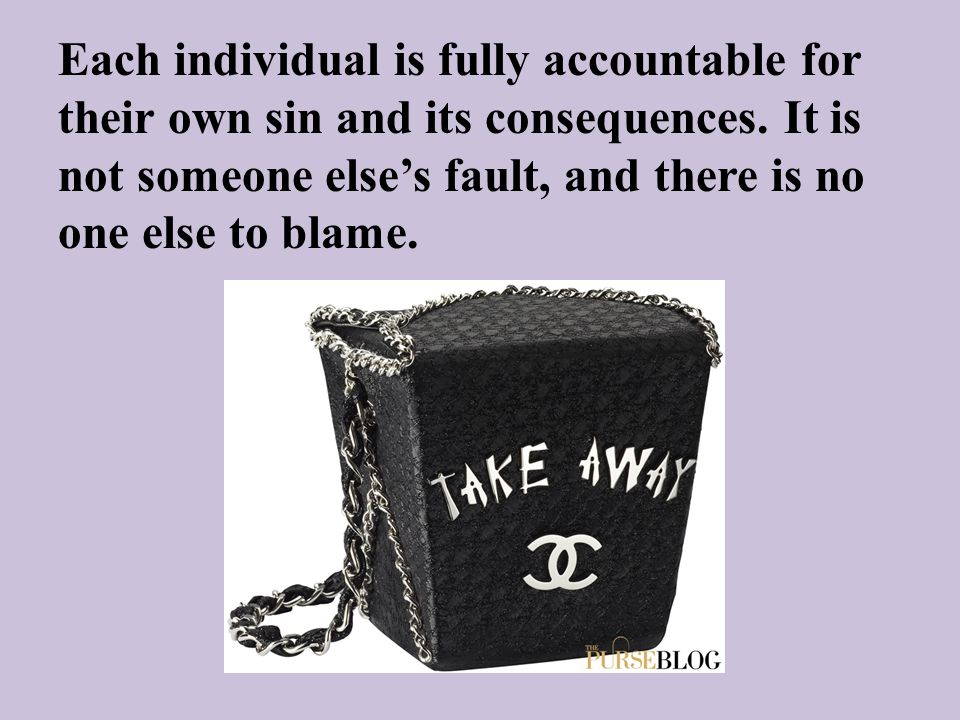 Each individual is fully accountable for their own sin and its consequences. It is not someone else's fault, and there is no one else to blame.