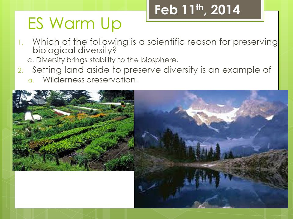 ES Warm Up 1. Which of the following is a scientific reason for preserving biological diversity? c. Diversity brings stability to the biosphere. 2. Se