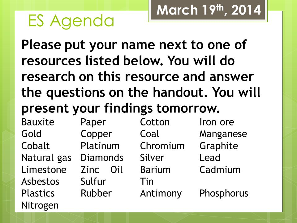 ES Agenda March 19 th, 2014 Please put your name next to one of resources listed below. You will do research on this resource and answer the questions
