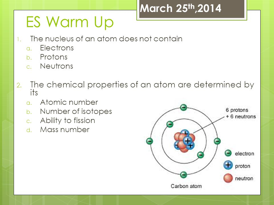 ES Warm Up 1. The nucleus of an atom does not contain a. Electrons b. Protons c. Neutrons 2. The chemical properties of an atom are determined by its