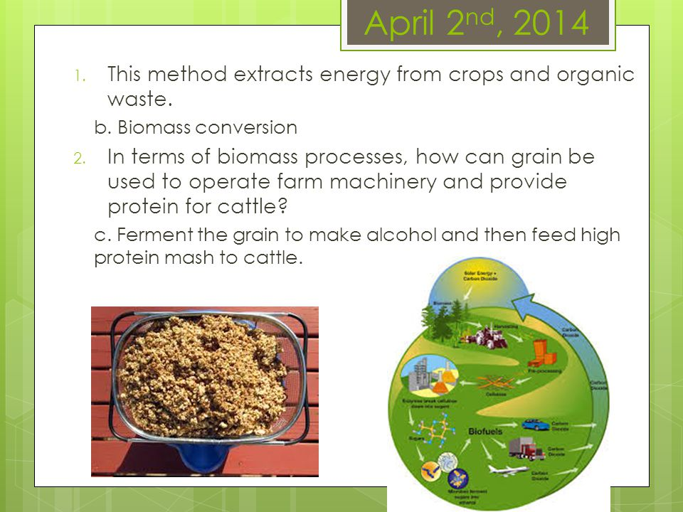 April 2 nd, 2014 1. This method extracts energy from crops and organic waste. b. Biomass conversion 2. In terms of biomass processes, how can grain be
