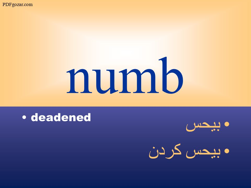 numb deadened بيحس بيحس كردن PDFgozar.com