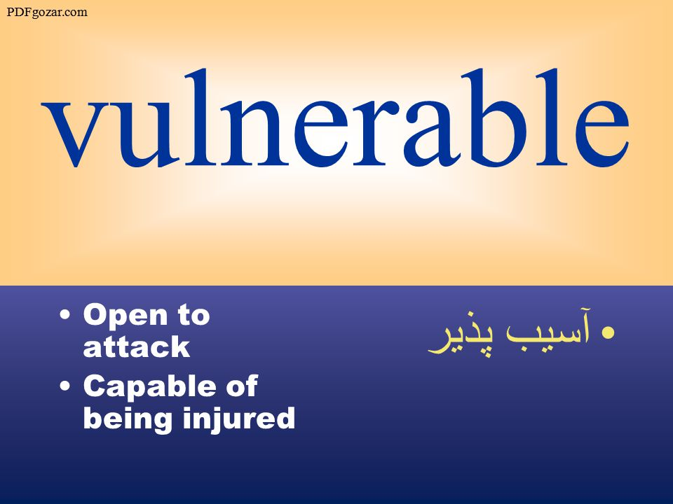 vulnerable Open to attack Capable of being injured آسيب پذير PDFgozar.com