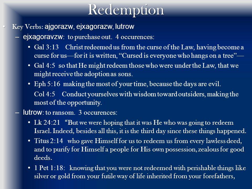 Redemption Key Verbs: ajgorazw, ejxagorazw, lutrow Key Verbs: ajgorazw, ejxagorazw, lutrow –ejxagoravzw : to purchase out.