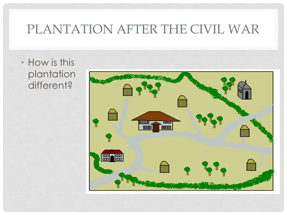 PLANTATION AFTER THE CIVIL WAR How is this plantation different?