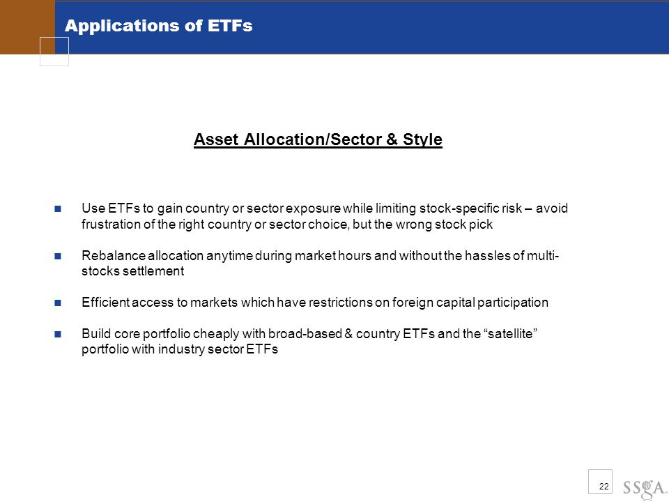 22 Applications of ETFs Asset Allocation/Sector & Style Use ETFs to gain country or sector exposure while limiting stock-specific risk – avoid frustra