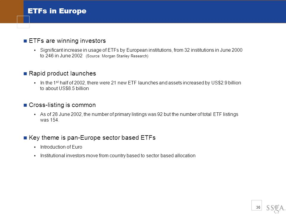 36 ETFs in Europe ETFs are winning investors  Significant increase in usage of ETFs by European institutions, from 32 institutions in June 2000 to 246 in June 2002 (Source: Morgan Stanley Research) Rapid product launches  In the 1 st half of 2002, there were 21 new ETF launches and assets increased by US$2.9 billion to about US$8.5 billion Cross-listing is common  As of 28 June 2002, the number of primary listings was 92 but the number of total ETF listings was 154.