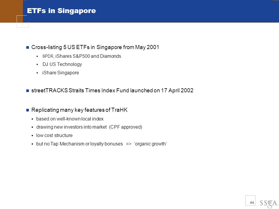 44 ETFs in Singapore Cross-listing 5 US ETFs in Singapore from May 2001  SPDR, iShares S&P500 and Diamonds  DJ US Technology  iShare Singapore streetTRACKS Straits Times Index Fund launched on 17 April 2002 Replicating many key features of TraHK  based on well-known local index  drawing new investors into market (CPF approved)  low cost structure  but no Tap Mechanism or loyalty bonuses => 'organic growth'