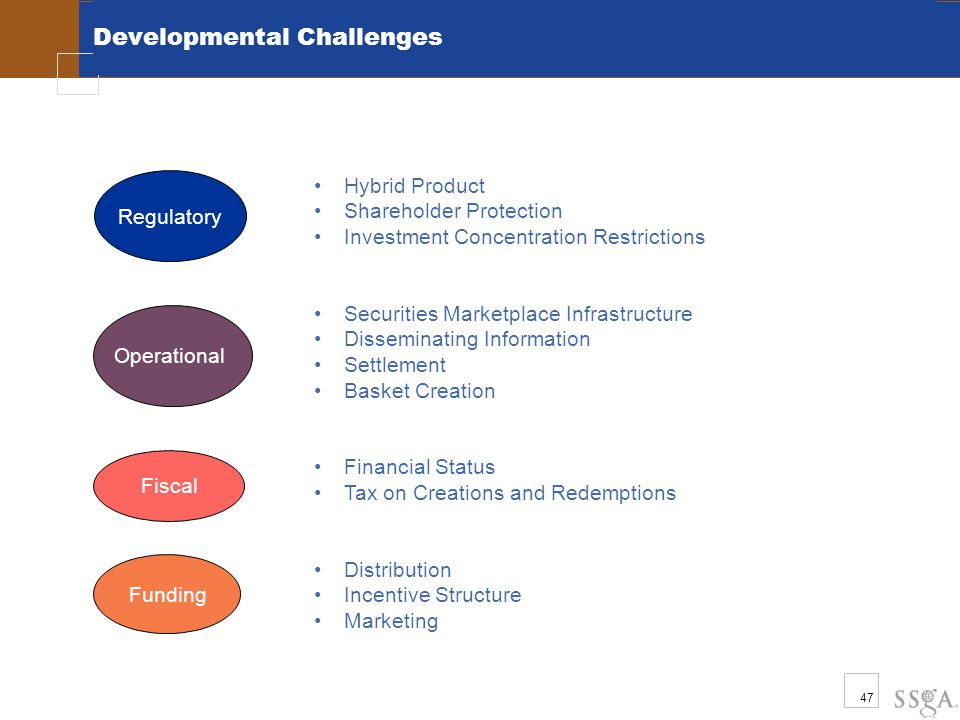47 Developmental Challenges Regulatory Funding Fiscal Operational Hybrid Product Shareholder Protection Investment Concentration Restrictions Securities Marketplace Infrastructure Disseminating Information Settlement Basket Creation Financial Status Tax on Creations and Redemptions Distribution Incentive Structure Marketing