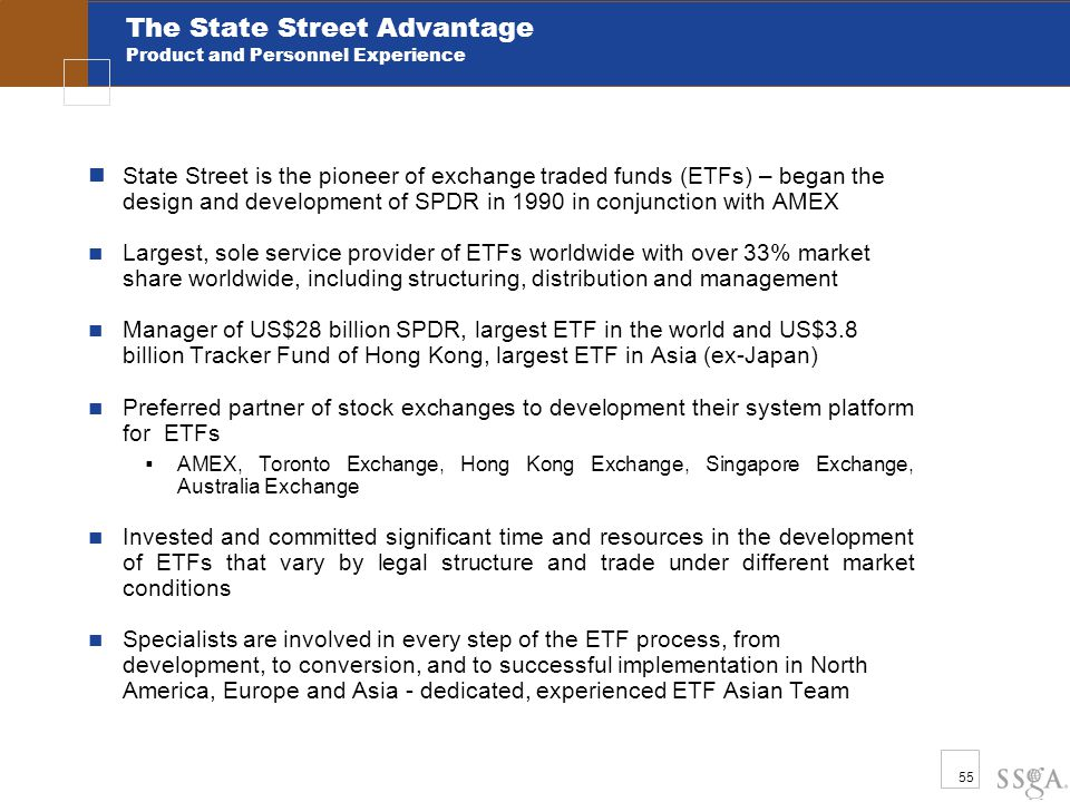 55 The State Street Advantage Product and Personnel Experience State Street is the pioneer of exchange traded funds (ETFs) – began the design and development of SPDR in 1990 in conjunction with AMEX Largest, sole service provider of ETFs worldwide with over 33% market share worldwide, including structuring, distribution and management Manager of US$28 billion SPDR, largest ETF in the world and US$3.8 billion Tracker Fund of Hong Kong, largest ETF in Asia (ex-Japan) Preferred partner of stock exchanges to development their system platform for ETFs  AMEX, Toronto Exchange, Hong Kong Exchange, Singapore Exchange, Australia Exchange Invested and committed significant time and resources in the development of ETFs that vary by legal structure and trade under different market conditions Specialists are involved in every step of the ETF process, from development, to conversion, and to successful implementation in North America, Europe and Asia - dedicated, experienced ETF Asian Team