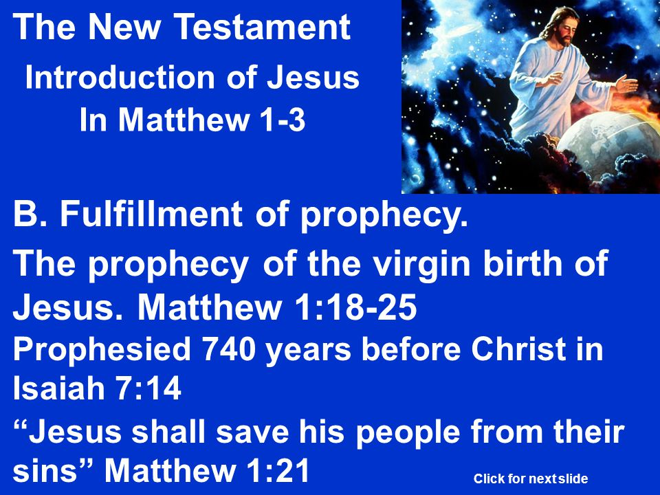 The New Testament Introduction of Jesus In Matthew 1-3 B.
