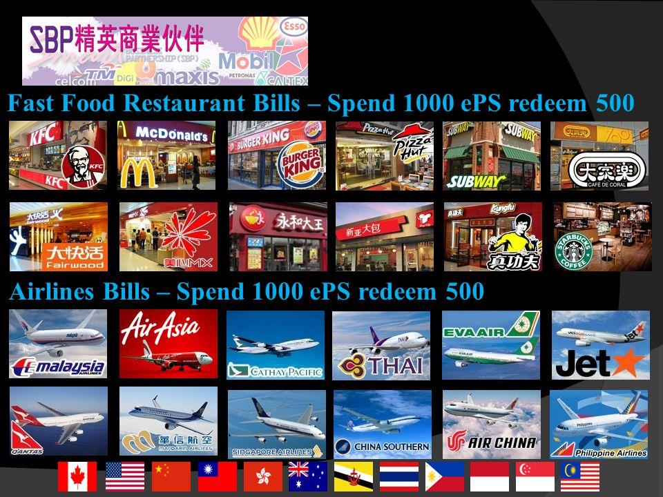 Hand Phone Bills – Spend 1000 ePS redeem 500 Hyper & Supermarket Bills – Spend 1000 ePS redeem 500
