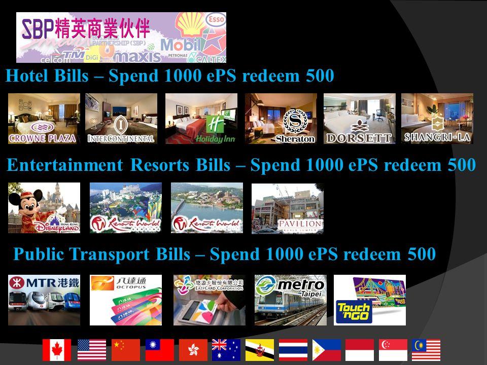 Fast Food Restaurant Bills – Spend 1000 ePS redeem 500 Airlines Bills – Spend 1000 ePS redeem 500