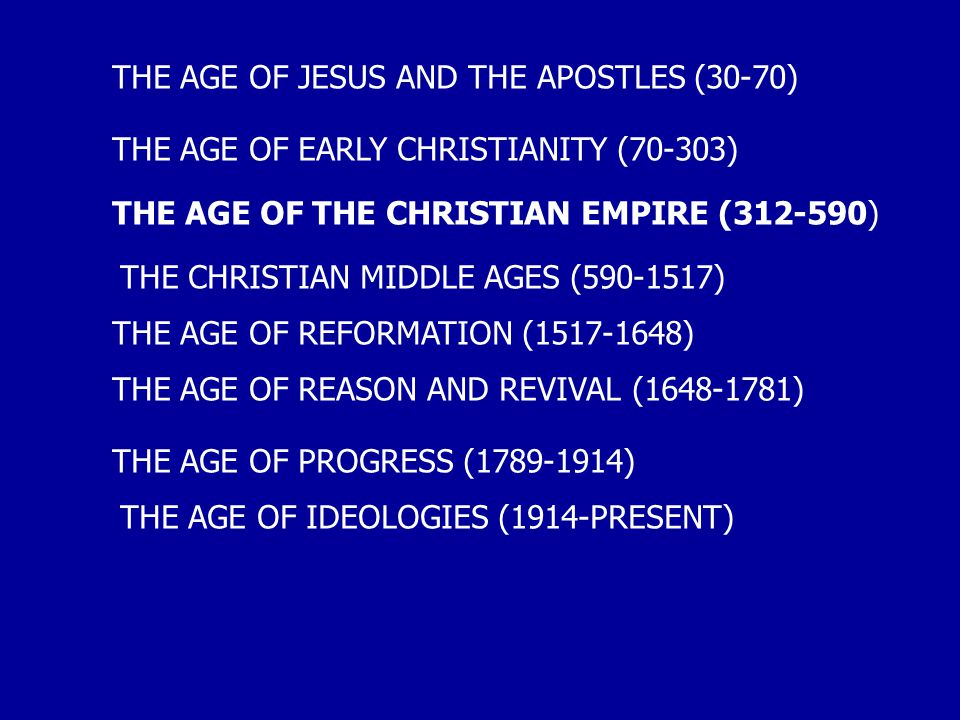 THE AGE OF JESUS AND THE APOSTLES (30-70) THE AGE OF EARLY CHRISTIANITY (70-303) THE AGE OF THE CHRISTIAN EMPIRE (312-590) THE CHRISTIAN MIDDLE AGES (590-1517) THE AGE OF REFORMATION (1517-1648) THE AGE OF REASON AND REVIVAL (1648-1781) THE AGE OF PROGRESS (1789-1914) THE AGE OF IDEOLOGIES (1914-PRESENT)
