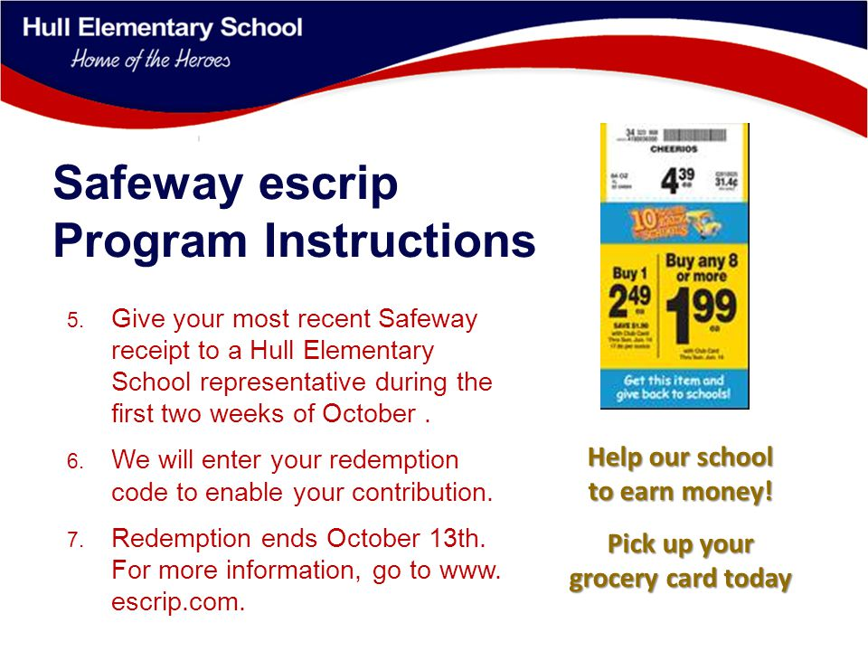 Safeway escrip Program Instructions 5.