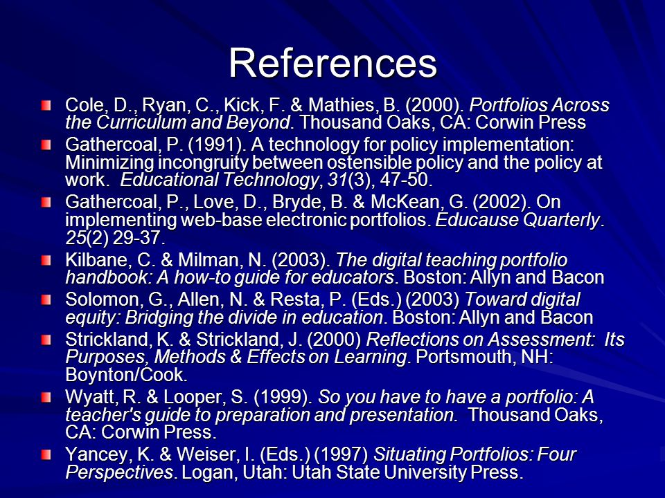 References Cole, D., Ryan, C., Kick, F. & Mathies, B.