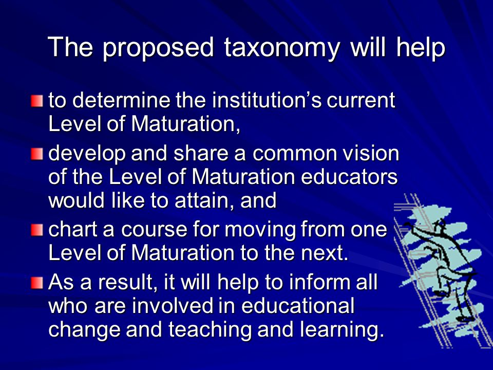 The proposed taxonomy will help to determine the institution's current Level of Maturation, develop and share a common vision of the Level of Maturation educators would like to attain, and chart a course for moving from one Level of Maturation to the next.