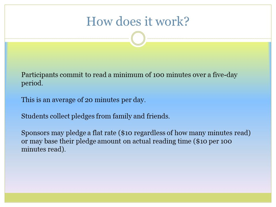 Participants commit to read a minimum of 100 minutes over a five-day period.