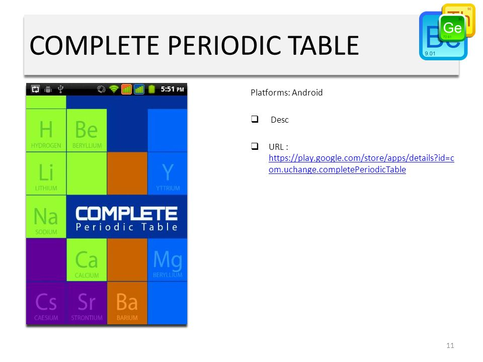 COMPLETE PERIODIC TABLE Platforms: Android  Desc  URL : https://play.google.com/store/apps/details id=c om.uchange.completePeriodicTable https://play.google.com/store/apps/details id=c om.uchange.completePeriodicTable 11