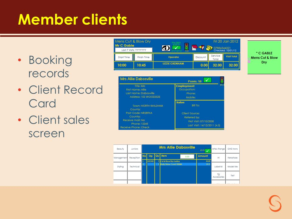 Member clients Booking records Client Record Card Client sales screen