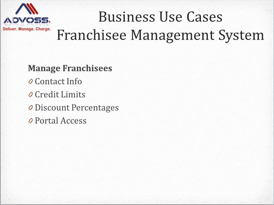 Business Use Cases Franchisee Management System Manage Franchisees 0 Contact Info 0 Credit Limits 0 Discount Percentages 0 Portal Access