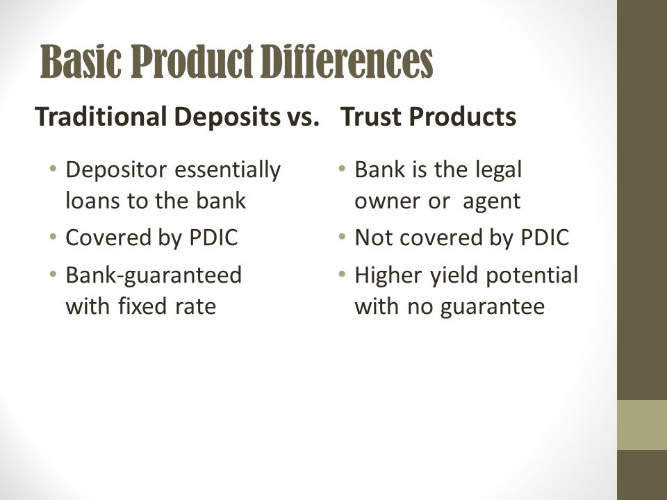 Basic Product Differences Depositor essentially loans to the bank Covered by PDIC Bank-guaranteed with fixed rate Bank is the legal owner or agent Not covered by PDIC Higher yield potential with no guarantee Traditional Deposits vs.