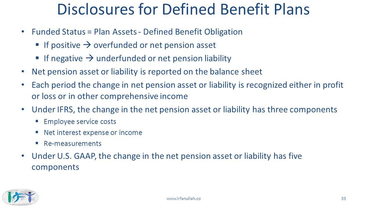 Disclosures for Defined Benefit Plans Funded Status = Plan Assets - Defined Benefit Obligation  If positive  overfunded or net pension asset  If ne