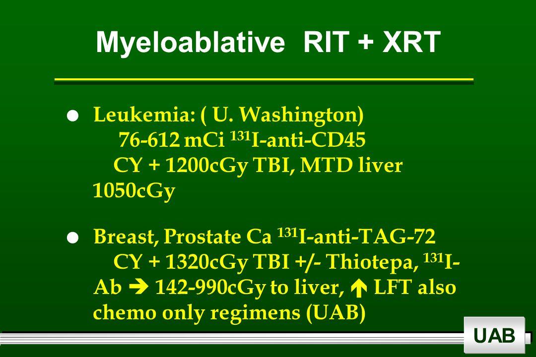 UAB Myeloablative RIT + XRT  Leukemia: ( U. Washington) 76-612 mCi 131 I-anti-CD45 CY + 1200cGy TBI, MTD liver 1050cGy  Breast, Prostate Ca 131 I-an