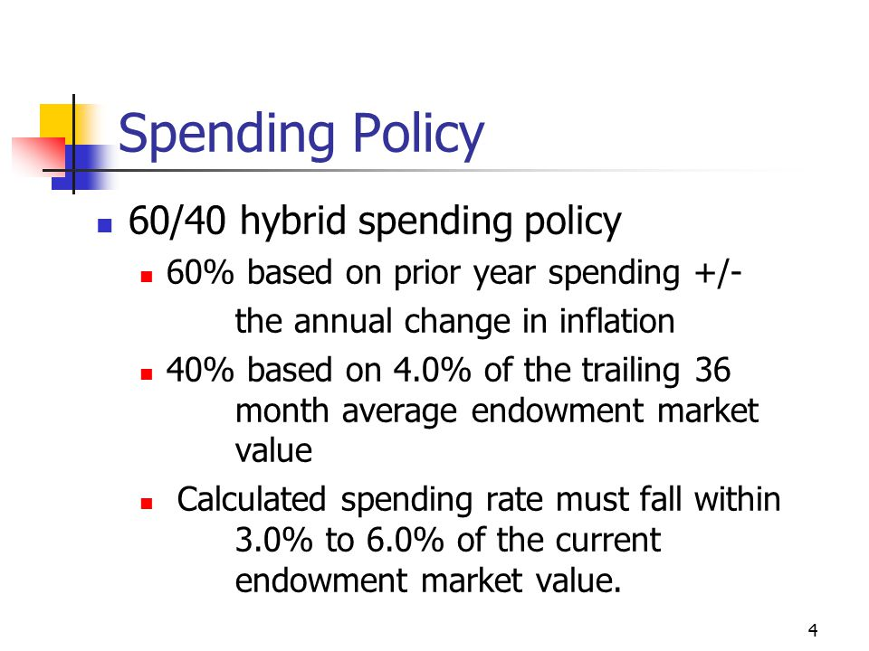 4 Spending Policy 60/40 hybrid spending policy 60% based on prior year spending +/- the annual change in inflation 40% based on 4.0% of the trailing 36 month average endowment market value Calculated spending rate must fall within 3.0% to 6.0% of the current endowment market value.