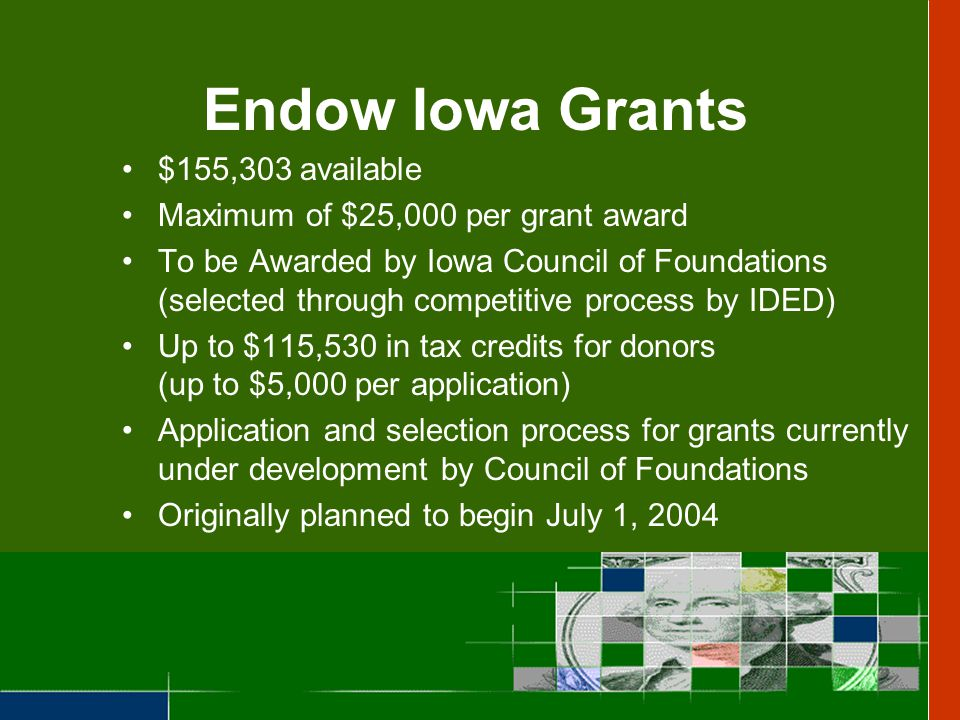 A Program of Partnerships Individuals, businesses, or organizations contribute to qualified foundations Contributors receive the tax credit Qualified Community Foundations provide funding for community projects IDED awards the tax credits