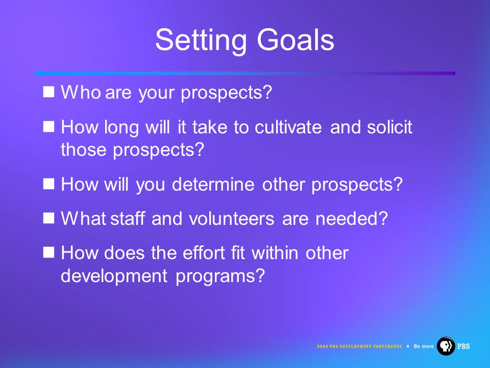 Setting Goals Who are your prospects.