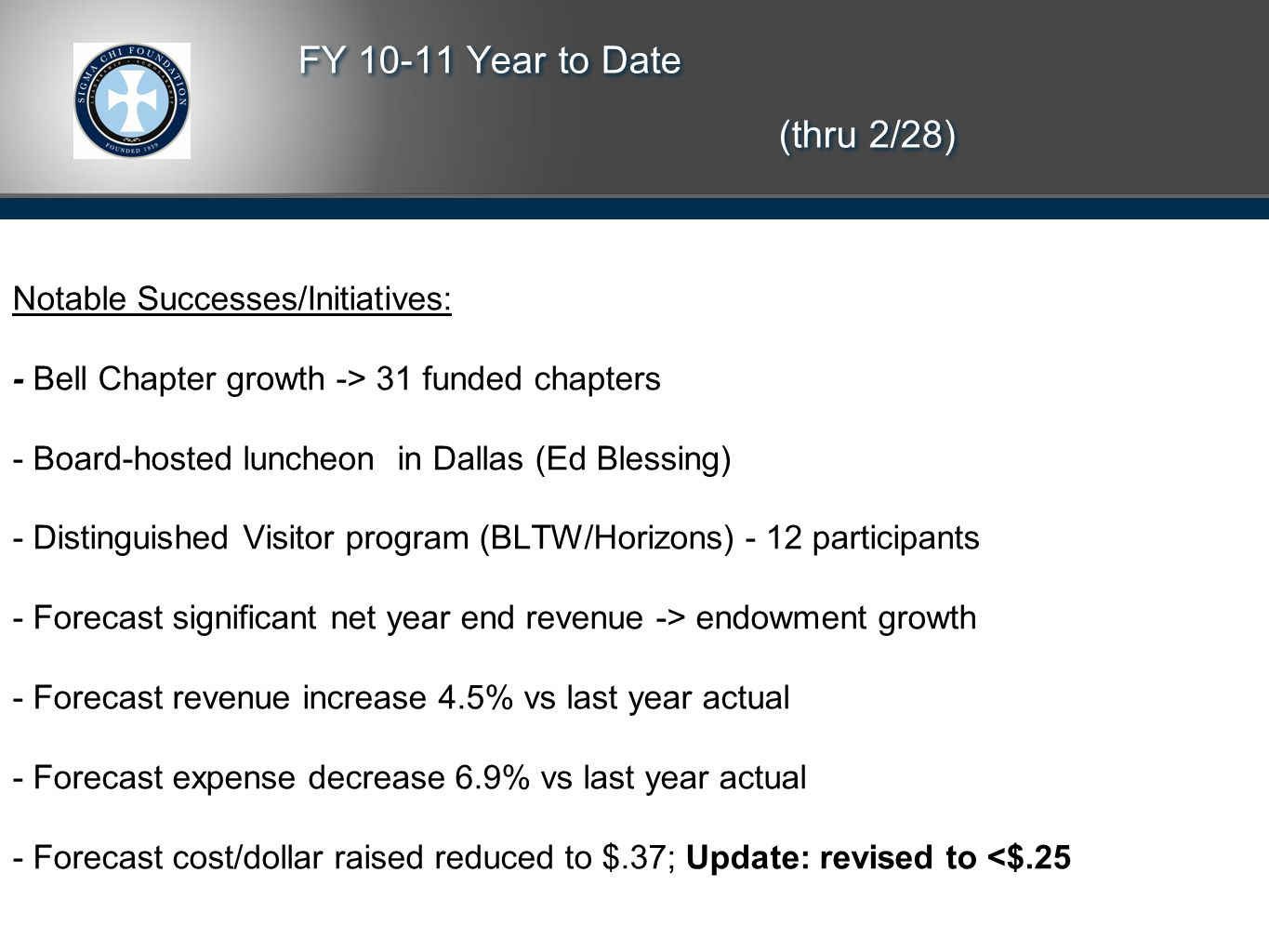 FY 10-11 Year to Date (thru 2/28) Notable Successes/Initiatives: - Bell Chapter growth -> 31 funded chapters - Board-hosted luncheon in Dallas (Ed Blessing) - Distinguished Visitor program (BLTW/Horizons) - 12 participants - Forecast significant net year end revenue -> endowment growth - Forecast revenue increase 4.5% vs last year actual - Forecast expense decrease 6.9% vs last year actual - Forecast cost/dollar raised reduced to $.37; Update: revised to <$.25