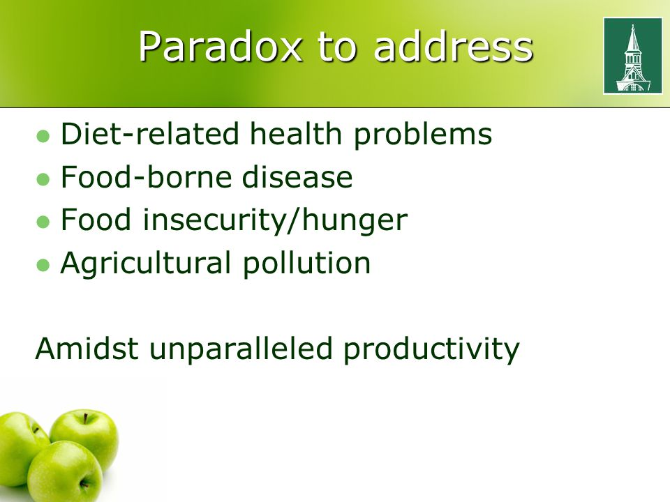 Paradox to address Diet-related health problems Food-borne disease Food insecurity/hunger Agricultural pollution Amidst unparalleled productivity