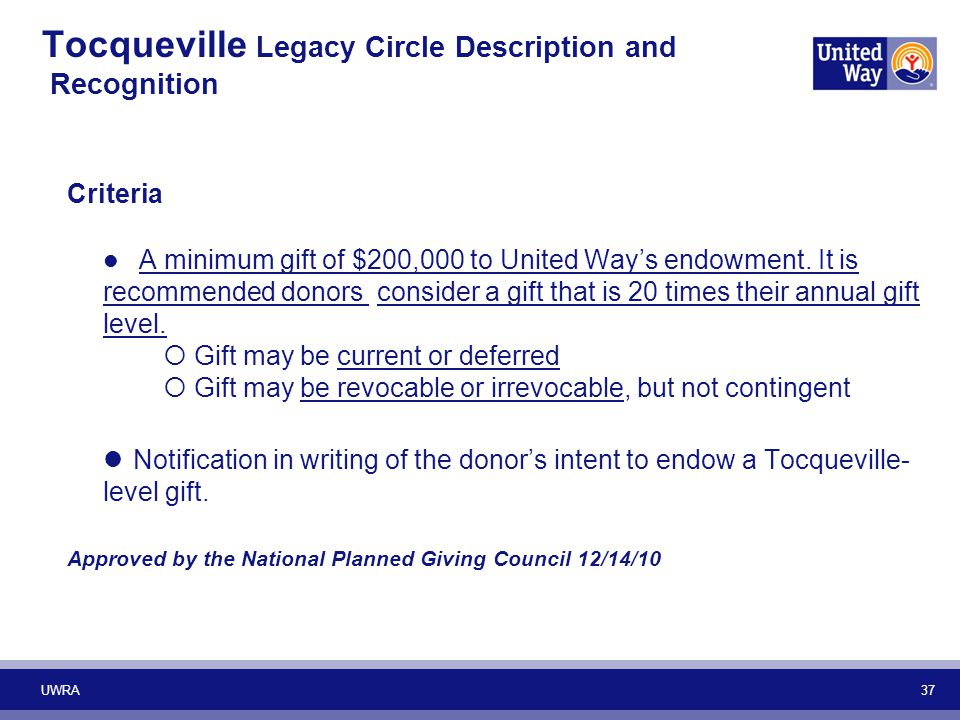 Tocqueville Legacy Circle Description and Recognition Criteria A minimum gift of $200,000 to United Way's endowment. It is recommended donors consider