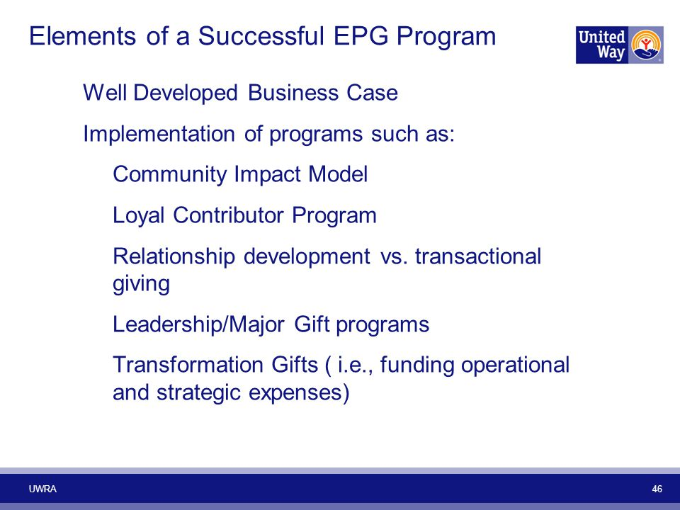 Elements of a Successful EPG Program Well Developed Business Case Implementation of programs such as: Community Impact Model Loyal Contributor Program