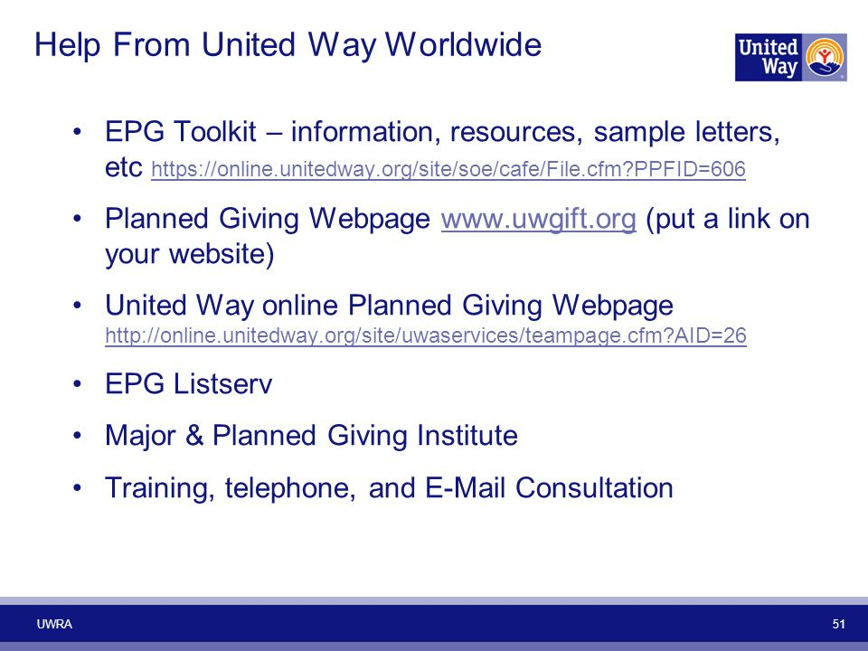 Help From United Way Worldwide EPG Toolkit – information, resources, sample letters, etc https://online.unitedway.org/site/soe/cafe/File.cfm?PPFID=606