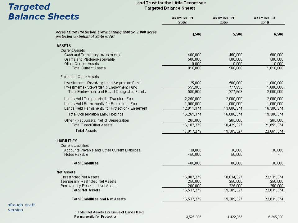 Targeted Balance Sheets Rough draft version