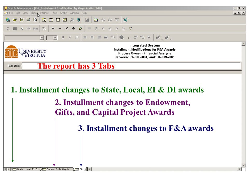 The report has 3 Tabs 1. Installment changes to State, Local, EI & DI awards 2.