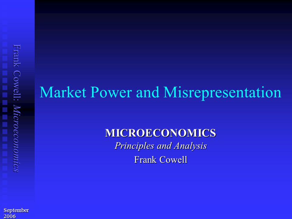 Frank Cowell: Microeconomics Full market power: the result Bill has maximal power in market for good 1 Bill has maximal power in market for good 1  can use a nonlinear pricing scheme  sets price ratio and entry fee to market for good 1 Outcome is full exploitation Outcome is full exploitation  trading partner is forced to reserve indifference curve  is on indifference curve through  solution allocation [x a ] is on indifference curve through [R] But it is efficient But it is efficient   at [x a ] MRS is is the same for both traders…   … so it is on the contract curve Solution applies for general form of Bill's preferences Solution applies for general form of Bill's preferences
